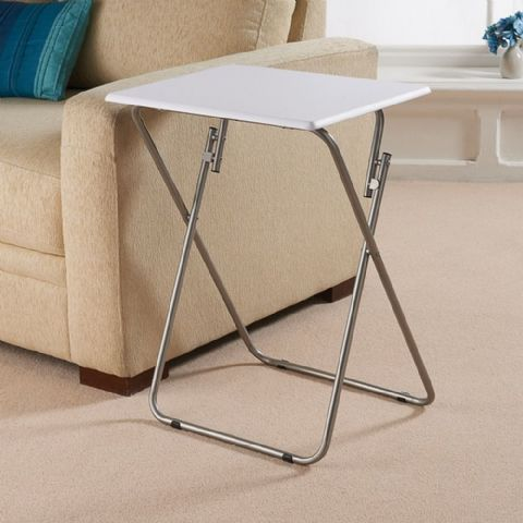 Small White Folding Side Table